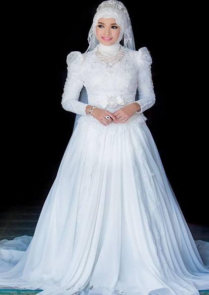 hijab and long sleeve wedding gown