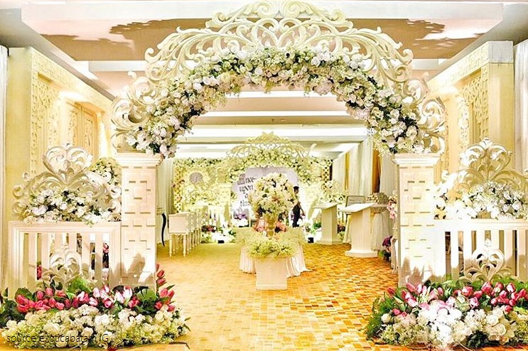 wedding decoration at reception hall